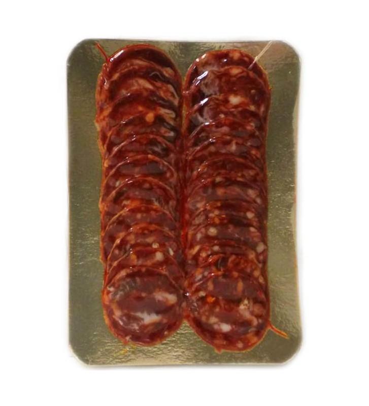 Chorizo de bellota ibérico loncheado en sobres de 100 gr envasado al vacío