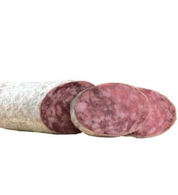 Salchichón ibérico media pieza incluida en el lote embutido ibérico de bellota medias de lomo chorizo y salchichón