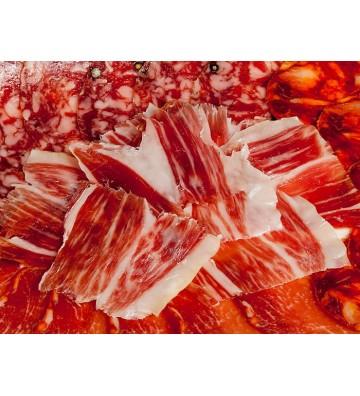 Pack de jamón, lomo, chorizo y salchichón de bellota 50% raza ibérica por 100 grs c/u