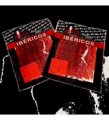 Jamón de bellota ibérico 50% raza ibérica pack de 10 sobres loncheados x 100grs c/u